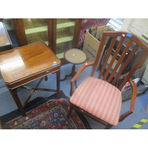 29 - Mixed furniture to include a Victorian two door glazed bookcase, a sofa table, a Stag armchair and t...
