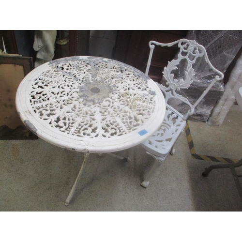 31 - An aluminium garden white painted circular table and single chair 65cm h x 68cm h Location: G...