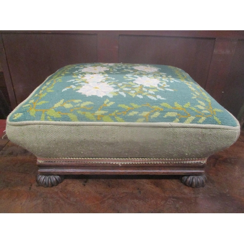 37 - A 19th century tapestry topped footstool, 16cm h x 38.5cm w Location: G...