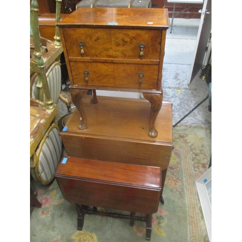 39 - A late 19th/early 20th century mahogany Sutherland table together with a walnut side table and a two...