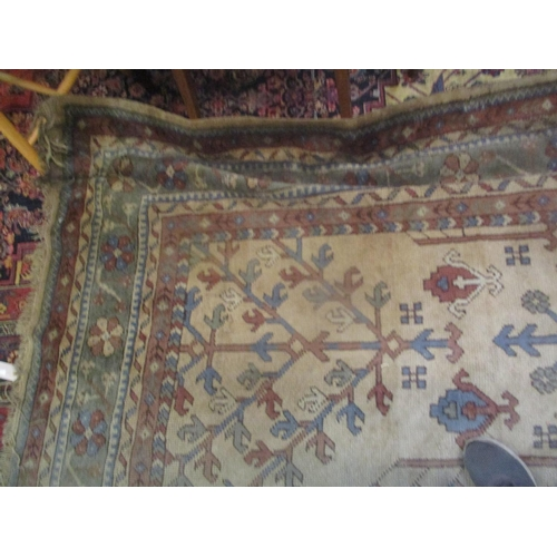 41 - An early/mid 20th century Turkish hand woven wool rug decorated with trees and having multi-guard bo...