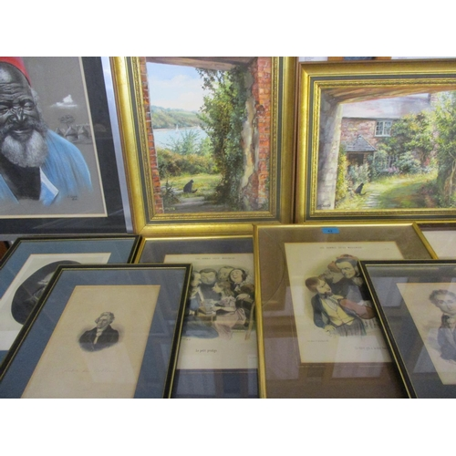 42 - Pictures to include Monica Childs - country scenes, oil on canvas, framed engravings of musicians an...