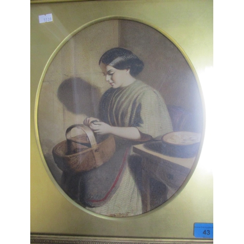 43 - A late 19th century British school watercolour depicting a seated woman peeling a potato, 30cm x 25c...