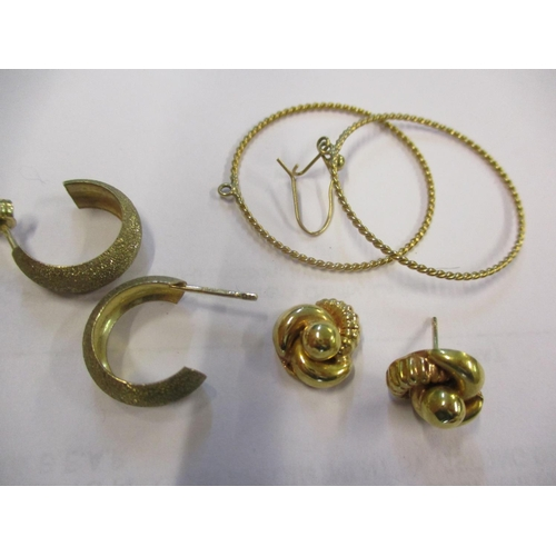 5 - Two pairs of 9ct gold earrings and a pair of gold coloured earrings, 5.8g Location: CAB...
