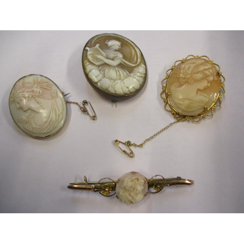 8 - A 9ct gold and cameo bar brooch together with three cameo brooches Location: CAB...