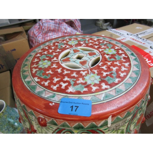 17 - A 20th century Chinese Famille Verte porcelain garden seat decorated with shaped panels of figures i...