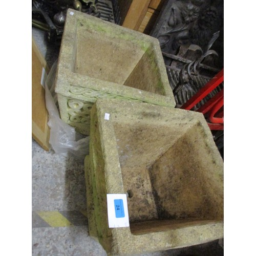 24 - Two large stone platers of square form Location: G...