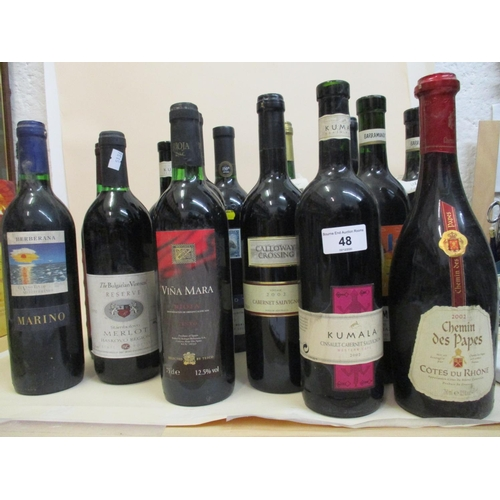 48 - Fifteen mixed bottles to include Merlot, Rioja etc Location: R.2...