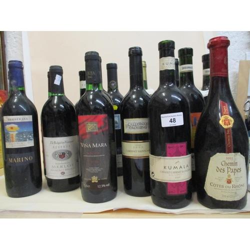 48 - Fifteen mixed bottles to include Merlot, Rioja etc...