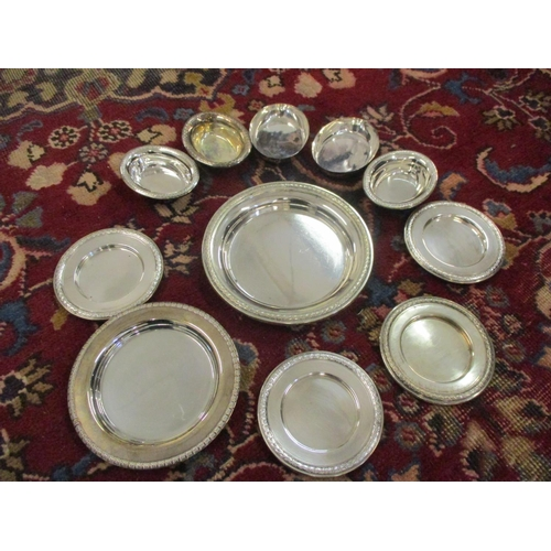 10 - Eleven white metal dishes stamped 833 in various sizes, weight 559.1g Location: LAM...