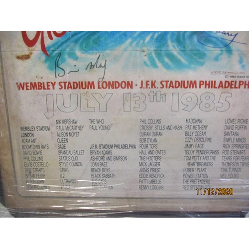 14 - 1985 Live Aid poster, framed and glazed Location: RWF...