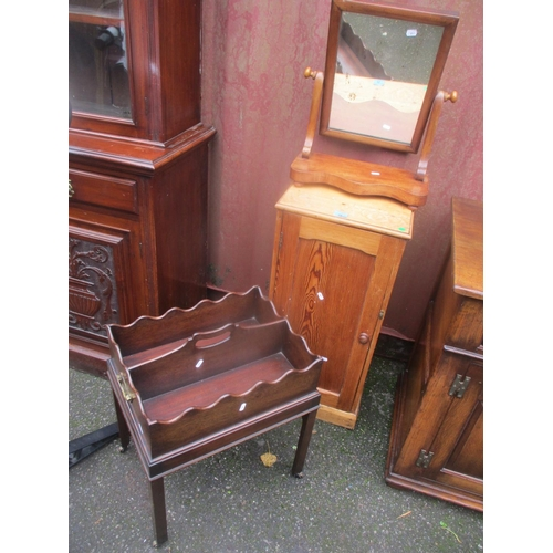25 - A Victorian dressing table swing mirror, pine cupboard and a mahogany magazine table Location: A3F/R...