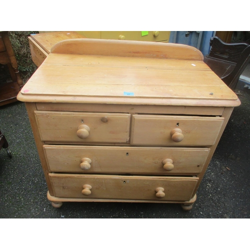 27 - A Victorian pine chest of two short and three long drawers raised on turned feet 90cm h x 88cm w Loc...