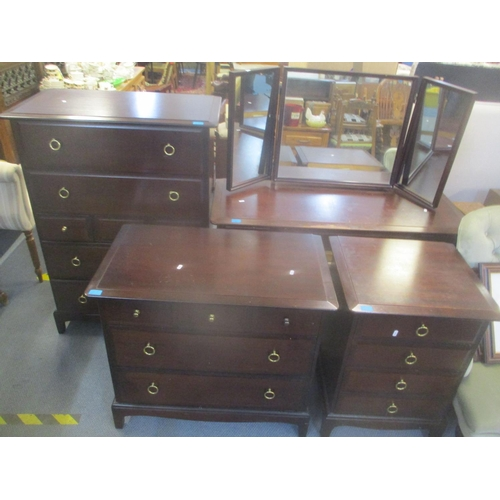 37 - A Stag mahogany bedroom suite consisting of a dressing table and three chests of drawers Location: R...