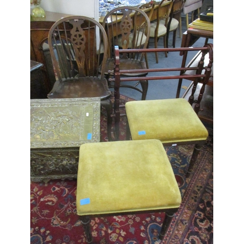 38 - A pair of reproduction wheelback dining chairs, a modern blanket/towel rail, a mid 20th century  bra...