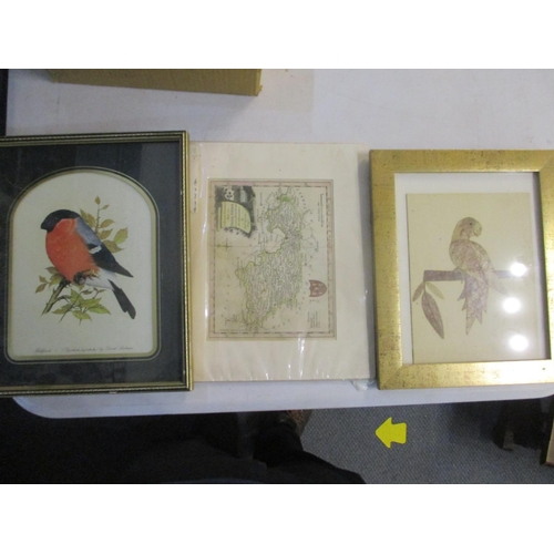 44 - A mixed lot to include a map of Berkshire by Thomas Bowen, a boxed throw, ceramics, a frosted glass ...