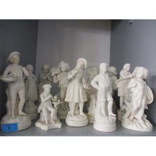 5 - Mixed Parian figures A/F and busts to include one of a young Beethoven? and a composition figural gr...