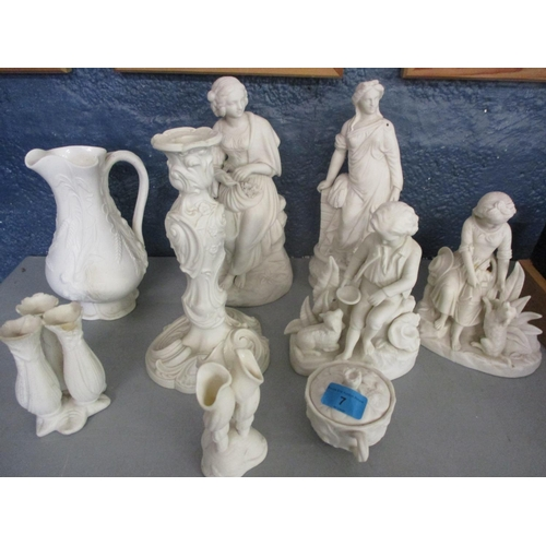 7 - Mixed Parian figures, vases and other Parian items A/F Location: LAB...