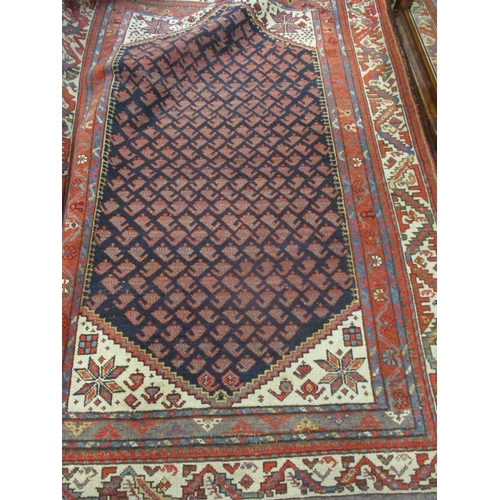 8 - A Kelim rug having a terracotta ground with diamond and geometric design, 167cm x 185cm together wit...