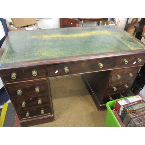 35 - A mahogany twin pedestal desk with green leather scriber A/F Location: A1B...