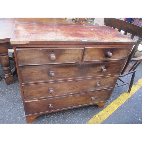 47 - A 19th century mahogany five drawer chest, on bracket feet, 102 h x 109cm w Location: A3F...