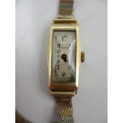 50 - An Art Deco 9ct gold ladies manual wind wristwatch. The dial inscribed Mappin with Arabic numerals, ...