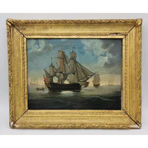 143 - Dutch School, 18th century depicting a Man-of-War ship at sea, oil on canvas, unsigned, relined, wit...
