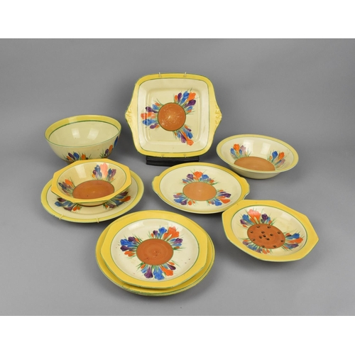 102 - A small collection of Clarice Cliff Autumn Crocus pattern plates and bowls, to include a berry bowl,...