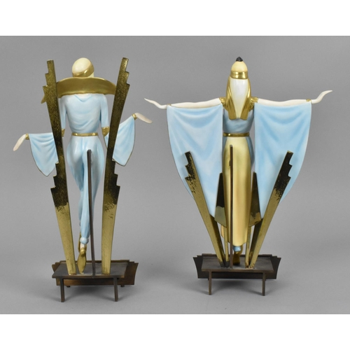 105 - Two Art Deco style Albany porcelain figures, 'Astra' and 'Zena', limited edition out of 500, designe...