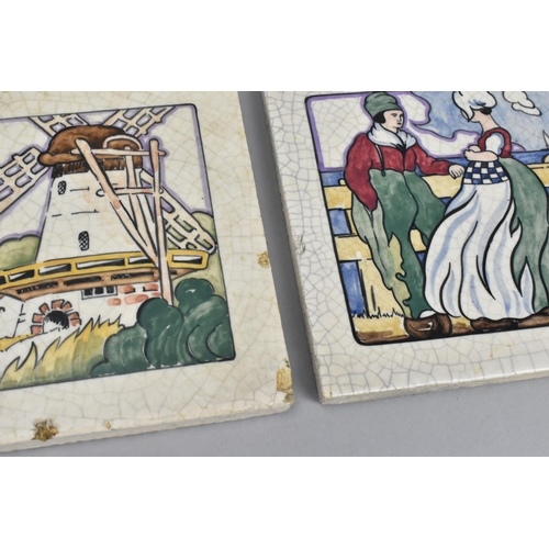 116 - A set of three Carter & Co porcelain tiles, designed by Joseph Roelants from his 'Coloured Dutch ser...