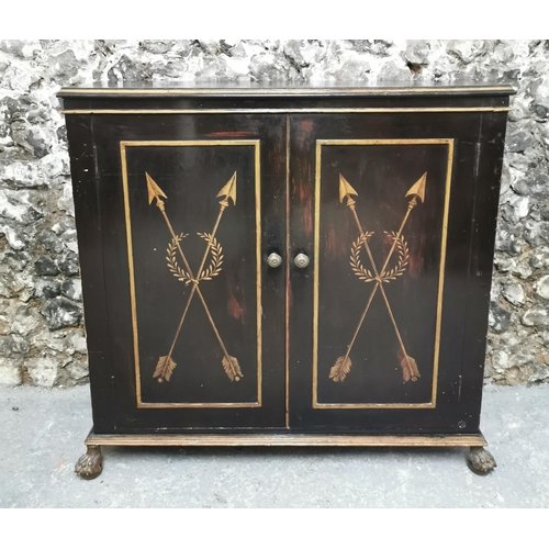 123 - A Regency style simulated rosewood side cabinet, the double front doors with gilt panels featuring a...