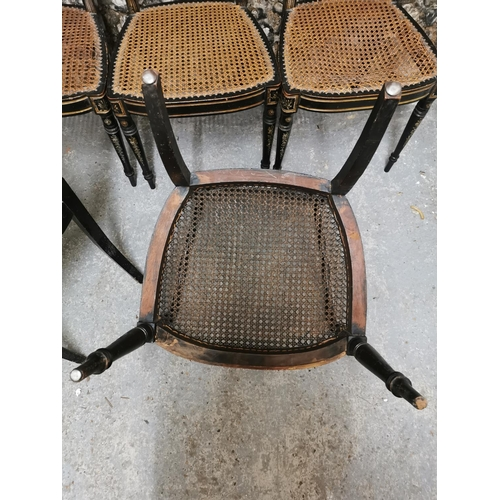 124 - A set of four painted Regency dining chairs, the frame with painted floral panels and gilt banding, ...