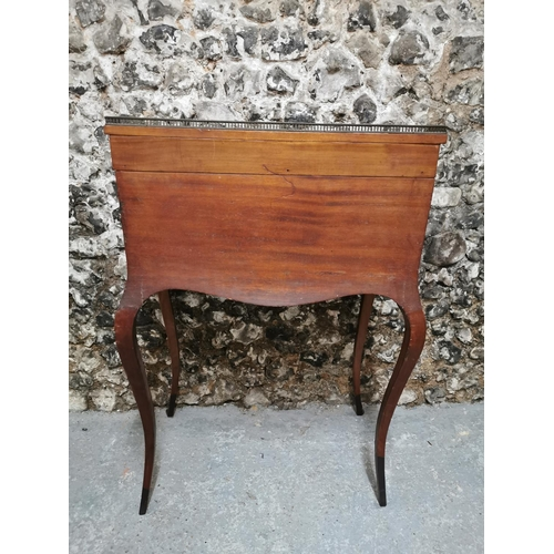 127 - A Victorian rosewood bureau de dame, the top with half gallery, above a drop front with floral marqu...