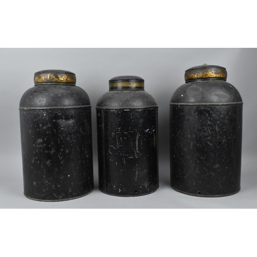 131 - Three large Victorian Chinese tea tin canisters, of cylindrical form, with remnants of painted panel...