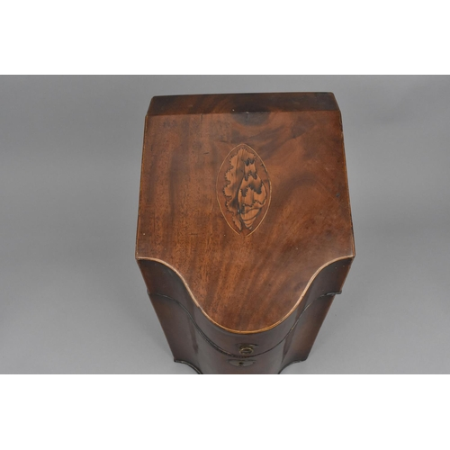 134 - A Georgian string inlaid mahogany knife box, of serpentine form with shell inlay to the lid, 37 cm h...