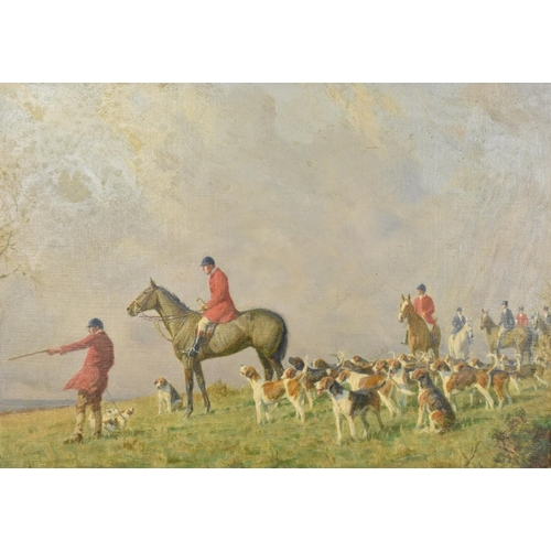136 - Charles Edward Stewart (act. 1890-1930) British depicting a British hunting scene with horse riding ...