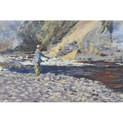 137 - Norman Wilkinson (1878-1971) British 'Salmon fishing on the Dee', watercolour on paper, signed lower...