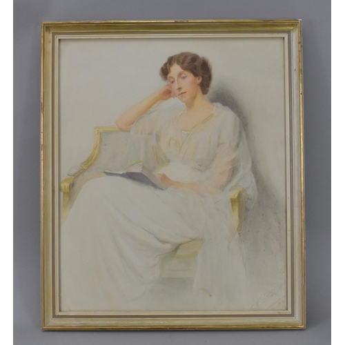 138 - Charles Edward Stewart (act. 1890-1930) British depicting a lady sat in an armchair reading a book, ...