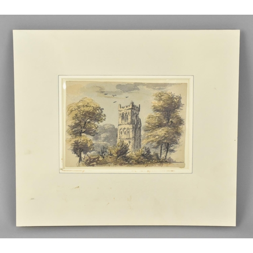 139 - James Prinsep (1799–1840) British depicting a church tower in Britain, signed lower right and indist...
