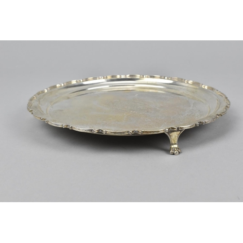 14 - A late 20th century silver waiter by William Hutton & Sons, Sheffield 1960, with moulded border, eng...