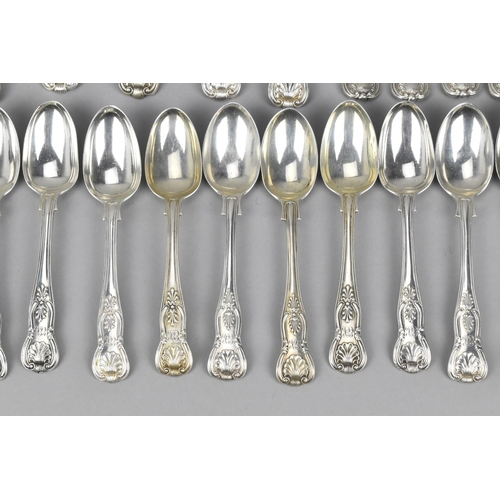 17 - An early Victorian near matching set of silver spoons and forks in the kings pattern, comprising six...