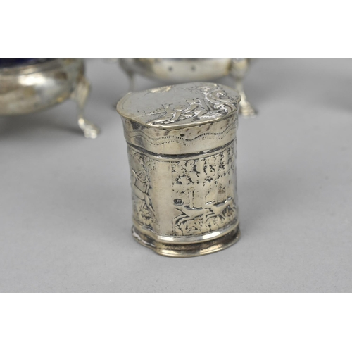 20 - A small collection of miscellaneous silver condiment pots and other pieces to include a twin handled...