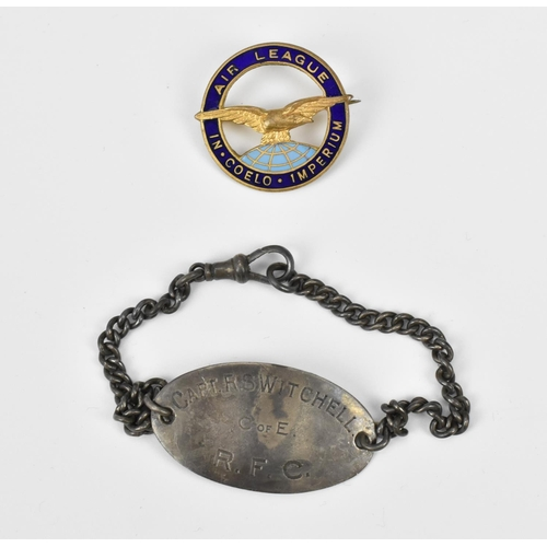 201 - A Royal flying corps WW1 RFC ID silver bracelet, belonging to Captain R.S. Witchell, together with a...