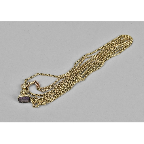 26 - A 9ct gold byzantine link fob chain with lobster claw clasp, stamped 9ct, with unmarked yellow metal...