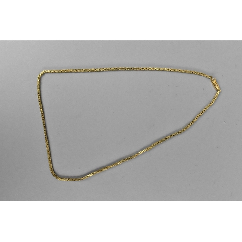 28 - A 9ct gold byzantine link chain with box clasp, 46 cm long, 11 g...