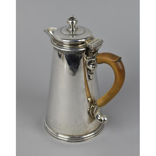 3 - An early 20th century silver hot water jug by Walter H Wilson Ltd, London 1933, of cylindrical, tape...
