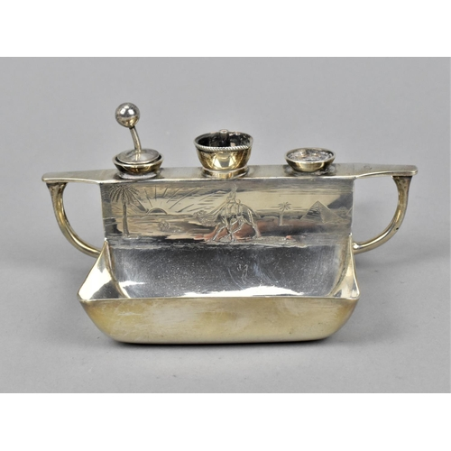 39 - A Victorian silver smoker's companion by Richard Hodd & Son, London 1884, of rectangular form with h...