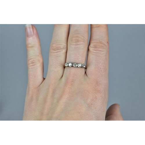 42 - An 18ct gold and platinum five diamond engagement ring, approx 0.5ct in total, size Q, total weight ...
