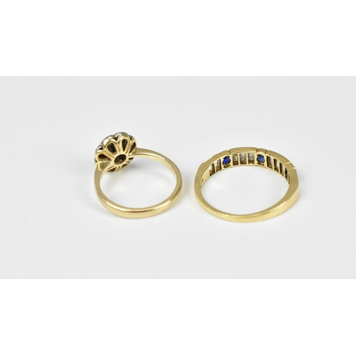 45 - An 18ct gold, diamond and sapphire half eternity ring, size O, together with a diamond and sapphire ...