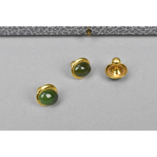 53 - An Asprey cased set of dress studs and cuff links to include a pair of 18ct gold, platinum, mother o...